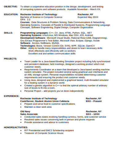 printable college student resume