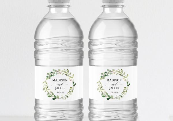 printable greenery wedding water bottle label