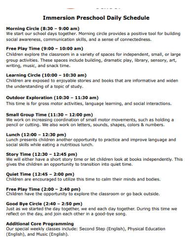 printable preschool daily schedule