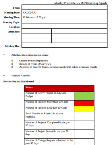 printable project agenda