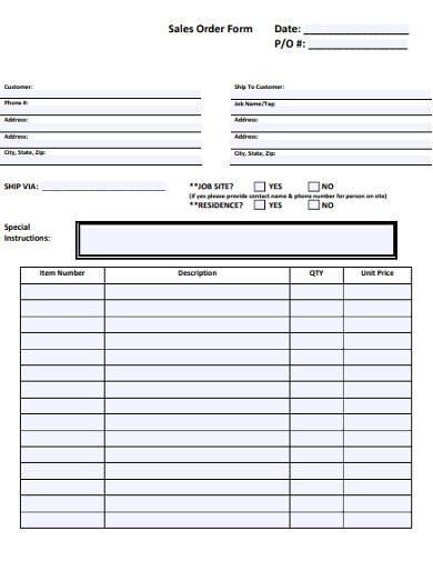 printalble sales order example