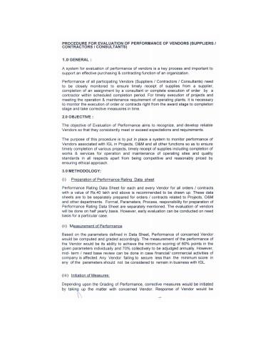 procedure for vendor evaluation performance