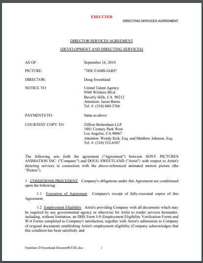 producers services agreement