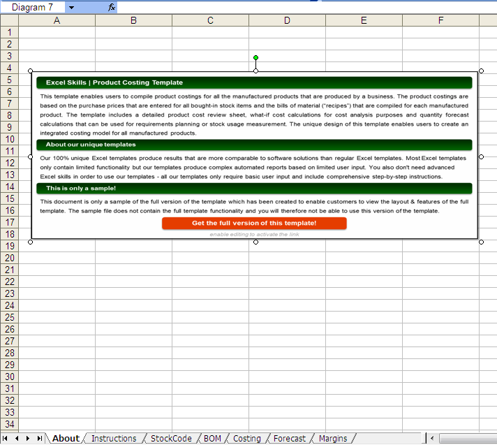 product costing template by excel skills