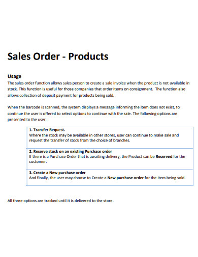 product sales order