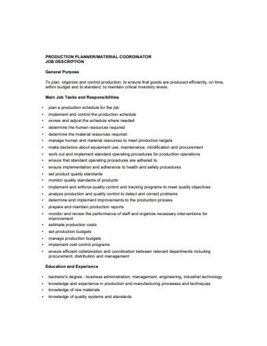 production planner job description