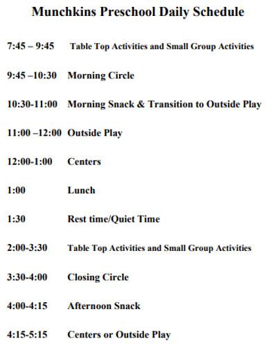 professional preschool daily schedule