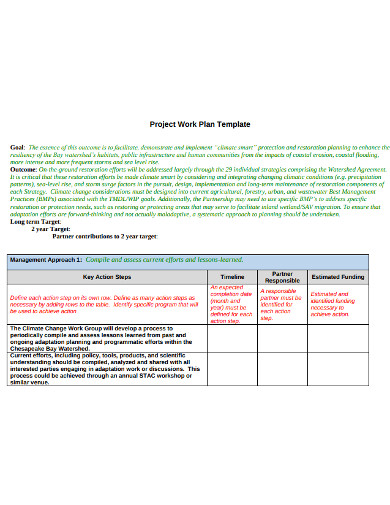 professional project work plan example