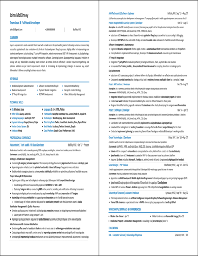 professional resume for web developer with diverse experience