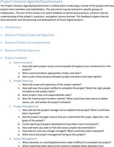 project agenda in pdf