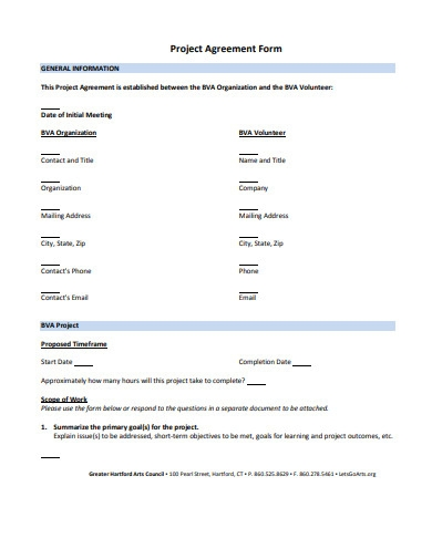project agreement form example