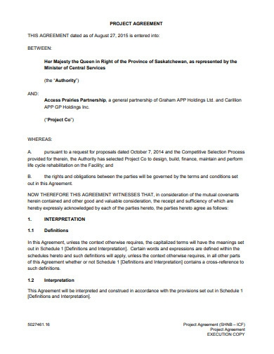 project agreement sample