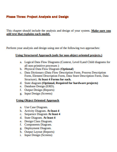 project analysis and design