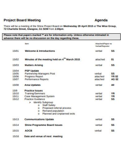 project board meeting agenda