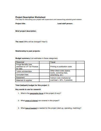 project description worksheet template