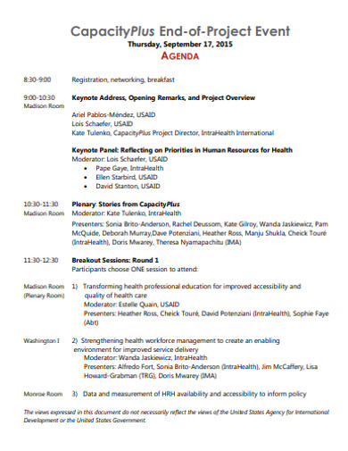 project event agenda