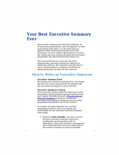 project executive summary example in doc