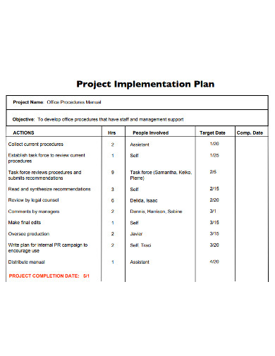 project implementation plan format