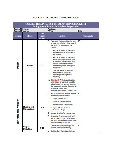project information worksheet template