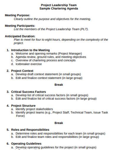 project leadership agenda