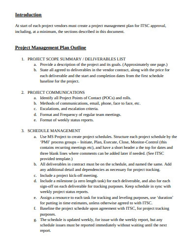 project management plan outline example