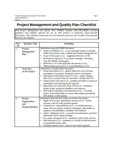 project management quality plan checklist