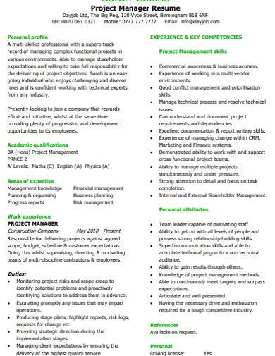 Free 15 Project Resume Examples Templates Examples