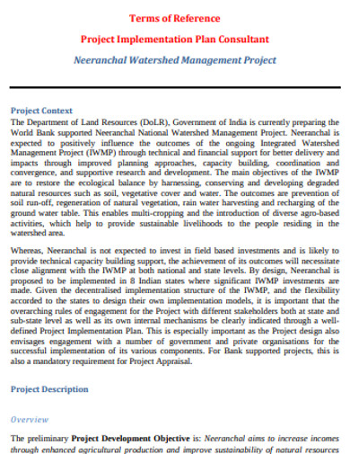 project managment implementation plan
