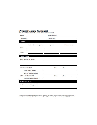 project mapping worksheet template