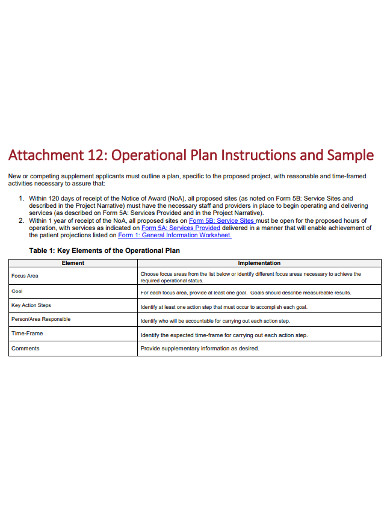 project operational plan format