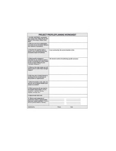 project profile planning worksheet template
