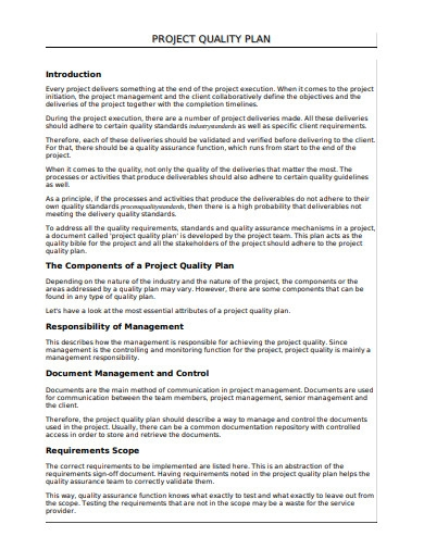 project quality plan format