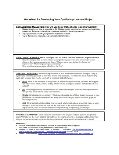project quality worksheet example