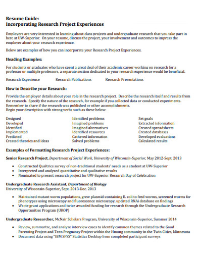 project research resume