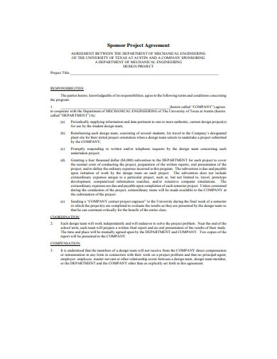 project sponsor agreement template
