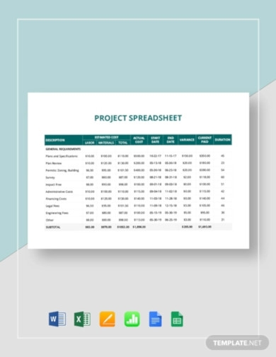 project spreadsheet template