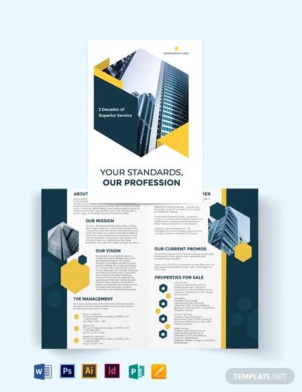 real estate company investor bi fold brochure template