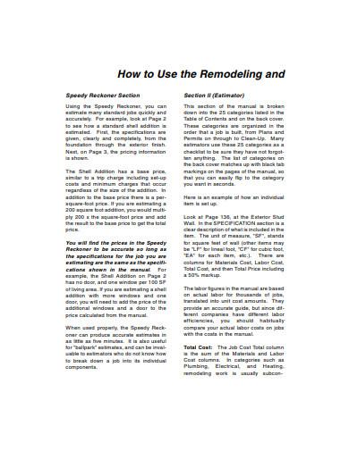 remodeling estimate in pdf
