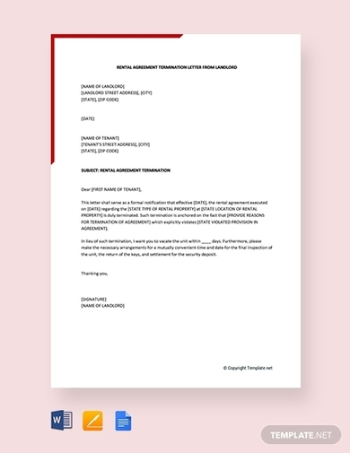 rental agreement termination letter from landlord