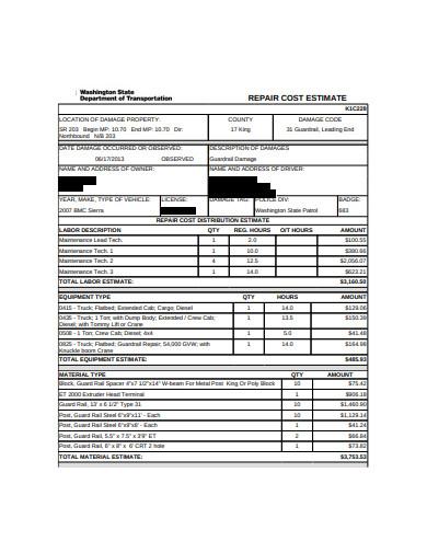 repair cost estimate