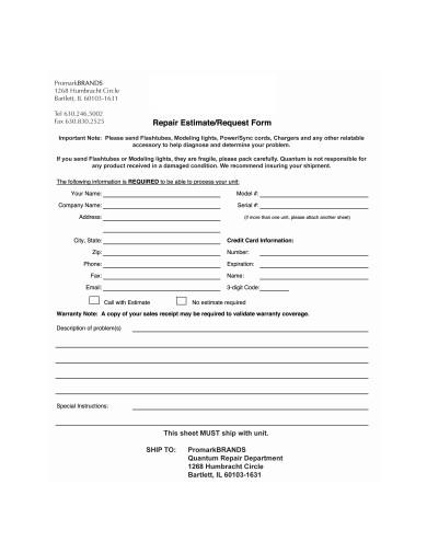repair estimate form