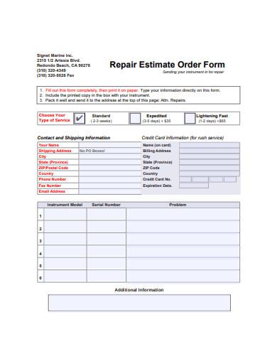 repair estimate order form