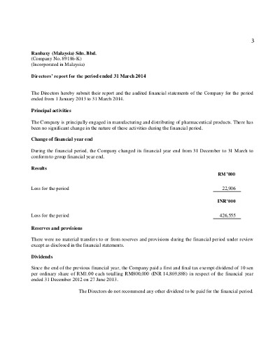 report company financial statement