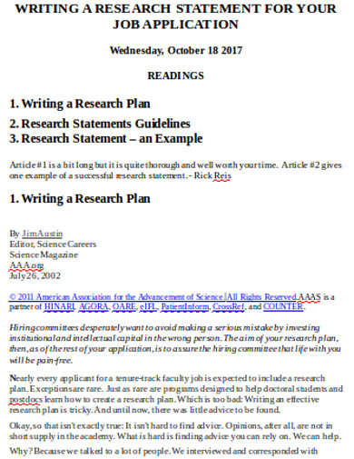 research job application statement