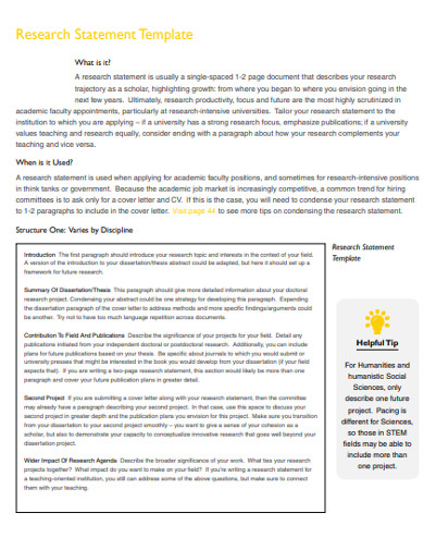 research statement template