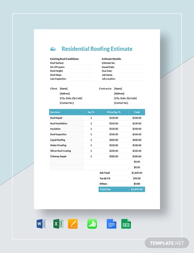 residential roofing estimate template