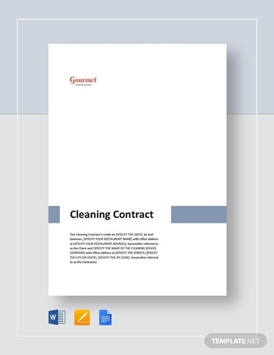 restaurant cleaning contract