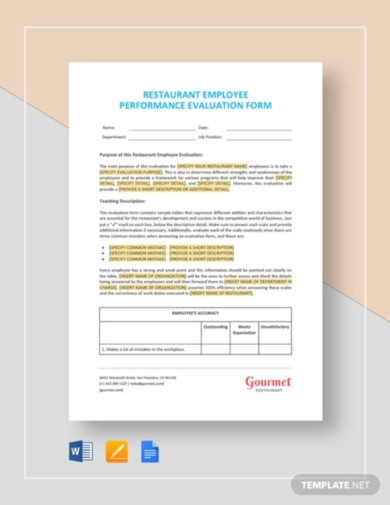 restaurant employee performance evaluation form template
