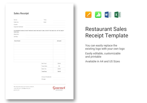 restaurant sales receipt template