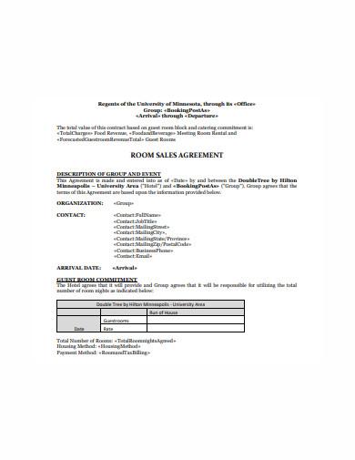 room sales agreement